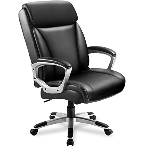 ComHoma Office Computer Desk Chair Executive High Back Chair Comfortable Ergonomic Managerial Chair Adjustable PU Leather Home Office Desk Chair Swivel Black