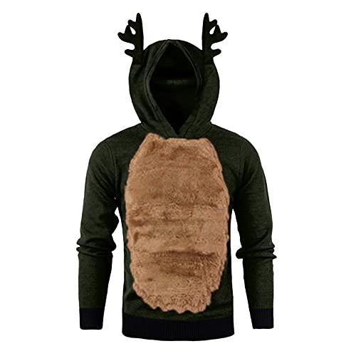 Lomelomme Herren Weihnachts Pulli Lustig Ugly Christmas Sweater Pullover Weihnachten Rentier Kostüm Funny Hoodie fur Männer, Teddy-Fleece Weihnachtspullover mit Kapuze Oversize