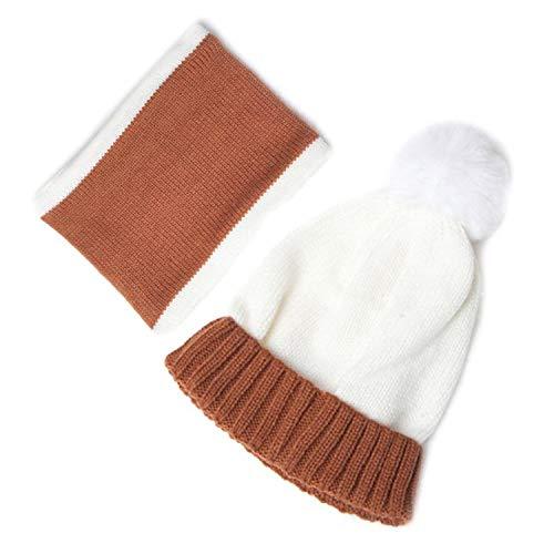 Ensemble bonnet et écharpe à pompons pour enfant - Couleurs contrastées - 3 ans - Blanc - Taille unique