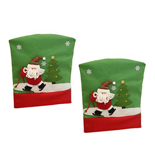 joyMerit 2 Stück 3D Effekt Santa Chair Back Cover Weihnachten Tisch Party