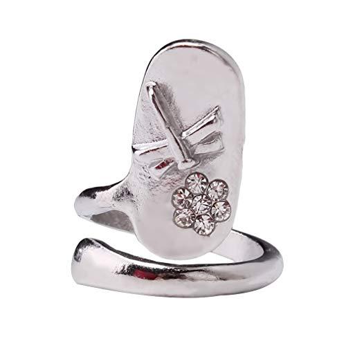 Hengxing Butterly Nail Ring Strass Punk Fingertip Fingernagel Cap Cover, Silber