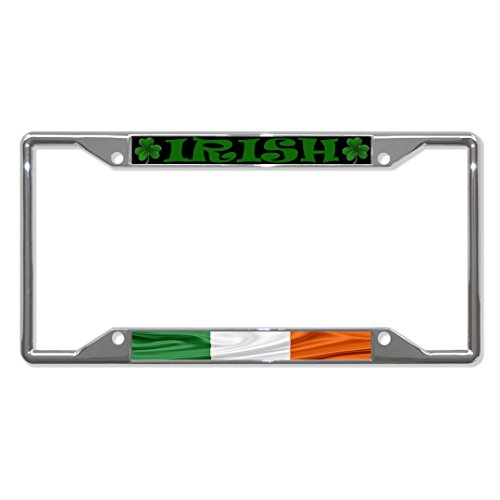 Fastasticdeals Irish Wavy Flag with Shamrock License Plate Frame Tag Holder Cover