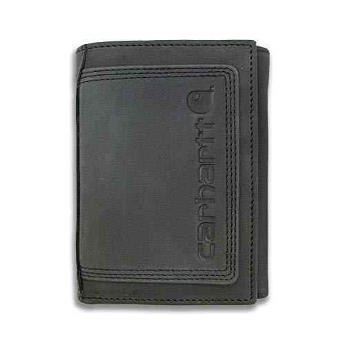Carhartt Men's Standard Top Grain Leather Trifold, Contrasting Stitch, Detroit - Black, One Size
