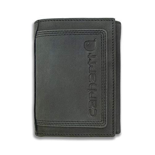Carhartt Men's Standard Top Grain Leather Trifold, Contrasting Stitch, Detroit - Black, One Size