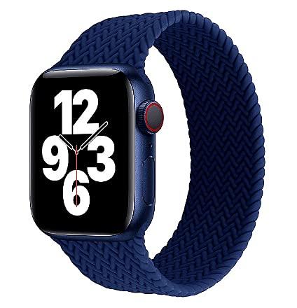 baklon Azul Loop Trenzada Compatible con Correa Apple Watch 42mm/44mm,Soft Sport Reemplazo El¨¢stica de Correa Nylon Compatible con iWatch Serie 6/5/4/3/2/1/SE