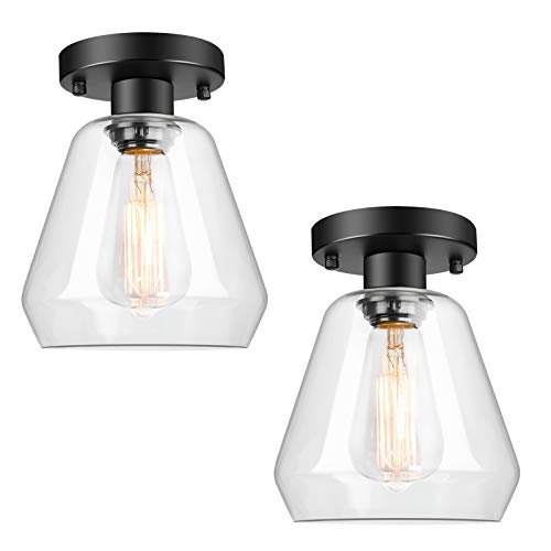 2-Pack Industrial Ceiling Light Semi Flush Mount Clear Glass Shade,...