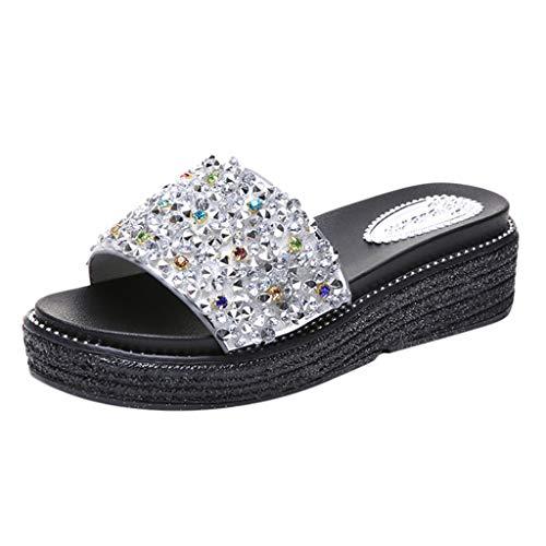 TUDUZ Sandalias de Strass con Lentejuelas Sandalias Casuales Zapatos Caseros Zapatos de Playa (Plata-B 35)