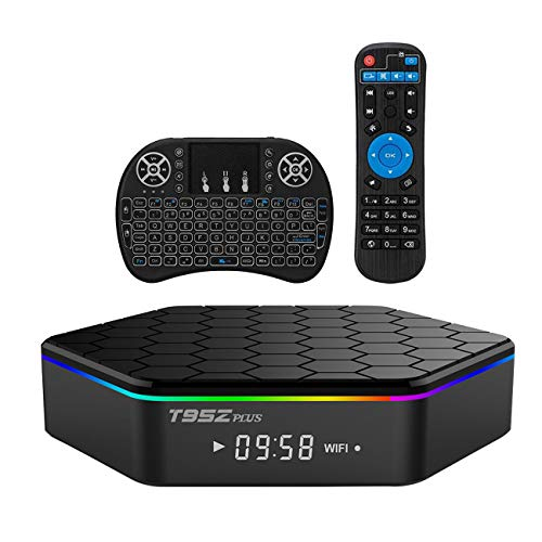 Android TV Box T95Z Plus Android 7.1.2 TV Box 2G+16G Amlogic S912 Octa-Core, 2.4 5.8G Dual-Band Wi-Fi 10-1000M LAN 64Bit BT4.0 H.265 UHD 4K Android Box with Mini Wireless Keyboard & Remote