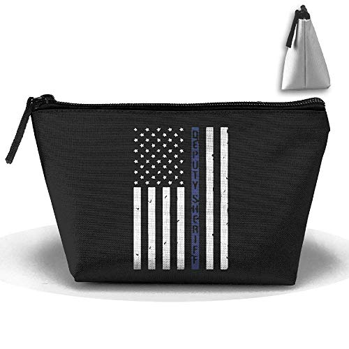Thin Blue Line Waterproof Trapezoidal Bag Cosmetic Bags Makeup Bag Large Travel Toiletry Pouch Portable Storage Pencil Holders