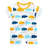 Pijama de bebé para niños y niñas, 100% algodón, linda excavadora, jirafa, pijama, pijama para niños y niñas, enterizo unisex para recién nacidos, 3 6, 9, 12 24 meses Beige Hipopótamo. 24 meses