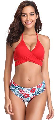 SHEKINI Damen Zweiteiliger Crossover Neckholder Bikini Weiche Pads Oberteil Druck Bikinihose Schwimmbad Sexy Schick Für Frau Strandkleidung High Waist Bauchweg Unterteil (L, Rot+Muster)