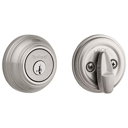 Kwikset 99800-090 980 Single Cylinder Round Traditional Deadbolt Door Lock featuring SmartKey Security in Satin Nickel