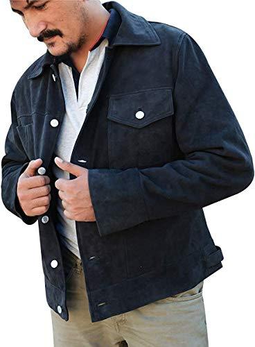 Mens Rip Wheeler Jacket Cowboy Cole Hauser Yellow-Rock Black Ranch Jacket, Suede Leather, Medium