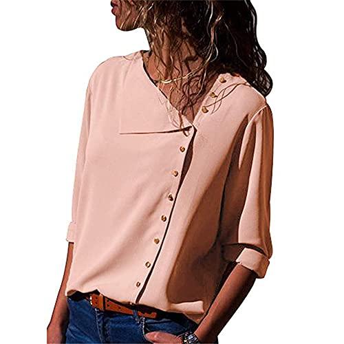 Camisa Mujer Manga Larga Oblicua con Cuello En V Blusa Elegante Mujer Cómoda Transpirable Boutique Botón Camisa Negocios Casual Banquete All-Match Tops Mujer B-Pink XL