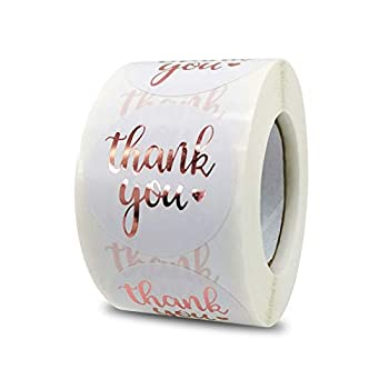1.5 Inch Thank You Stickers Roll 500 Pcs Rose Gold Thank You Stickers Lables for Baking Packaging,Envelope Seals Small Business,White Stickers Tags for Wedding,Birthday,Party Gift Wrap Bag