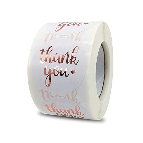 1.5 Inch Thank You Stickers Roll, 500 Pcs Rose Gold Thank You Stickers Lables for Baking Packaging,Envelope Seals, Small Business,White Stickers Tags for Wedding,Birthday,Party Gift Wrap Bag