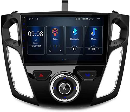 MIVPD Compatible para Ford Focus 2012-2017 Android 10.0 Sat Nav FM Radio Doble DIN Auto Audio Player Coche Estéreo 9 Pulgadas Pantalla Táctil LCD Monitor GPS Navegación,4 Core WiFi 1+16GB