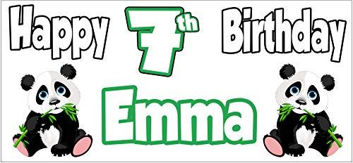 Cartel personalizable con temática de panda para el 7º cumpleaños, decoración de fiesta, para mujer, hombre, niño, mujer, marido, esposa, hijo, hija, mamá, papá, amiga, abuelo (paquete de 2)