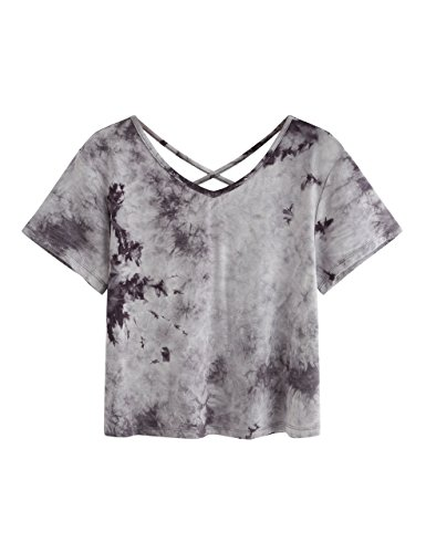 SweatyRocks Women's Tie Dye Print Crop Top T Shirt Short Sleeve ,Grey #1,Medium=S