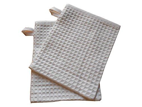 Lot de 2 gants de toilette nid d'abeille blanc