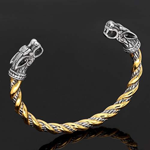 QZY Edelstahl Zweifarbige Perlen Spirale Wolf Kopf Torc Armband Armreif, Nordische Mythologie Wikinger Retro Solide Armband Männliche Armband Splitter Manschette Cool Poliert Armreif,A