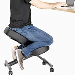 ERGONOMIC OFFICE CHAIR - We've got your back (and your knees, shins, and your behind!) Your ergonomic kneeling chair with back support is equipped with a mesh three-inch thick cushion to ensure excellent support. It features 4 casters (wheels) so you...