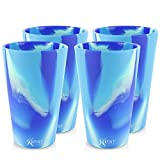 Silipint Silicone Pint Glass. Unbreakable, Reusable, Durable, and Guaranteed for Life. Shatterproof 16 Ounce Silicone Cups for Parties, Sports and Outdoors (4-Pack, Arctic Sky)