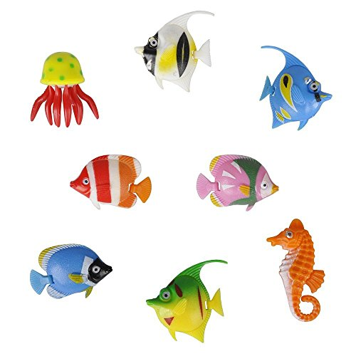 Pack of 8 - Colourful Assorted Artificial Plastic Bubble Lamp Aquarium Tropical Fish/Jellyfish & Seahorse