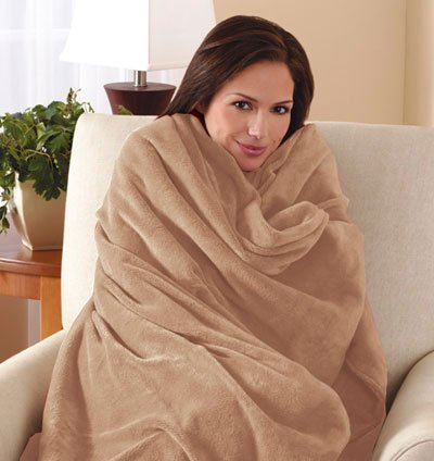 Sunbeam Electric Heated Throw Blanket Microplush Washable with 3-Heat Setting Auto-Off Controller, (Beige)