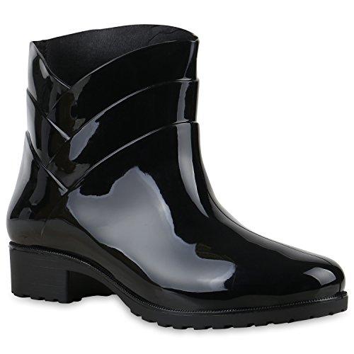 Damen Gummistiefel Profilsohle Stiefel Regen 124118 Schwarz Carlton 40 Flandell