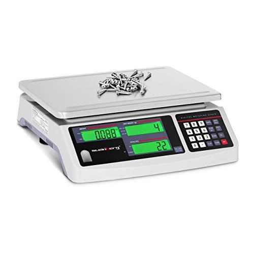 Steinberg Systems Balanza Cuentapiezas Báscula Digital SBS-PW-301CC (Acero inoxidable/PVC, 3 LCD, Batería hasta 72 h, 30 kg / 1 g)