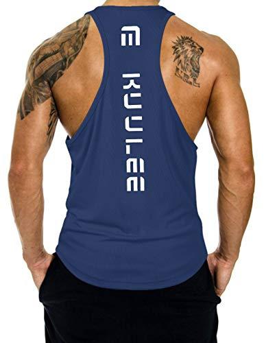 KUULEE Hommes Musculation Débardeur Bodybuilding Stringer Gilet sans Manche Maillot Training Tank Tops Sport T-Shirt Fitness Gym,Bleu Foncé,L