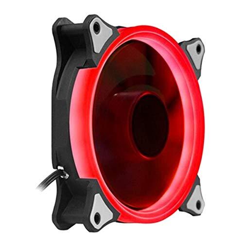 Mogzank Caja de la Computadora de Escritorio Ventilador de Enfriamiento 12 Cm Silencioso con Emisor de Luz Color Colorido Que Cambia el Host de Doble Halo