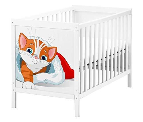 Set Möbelaufkleber für Ikea SUNDVIK Babybett Kinderzimmer Cartoon Katze Kätzchen süß Kat2 Weihnachten SU1 Aufkleber Möbelfolie sticker (Ohne Möbel) Folie 25T2608