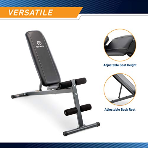 Marcy Exercise Utility Bench for Upright, Incline, Decline, and Flat Exercise SB-261W , Black, 42.00 x 19.00 x 51.00 inches