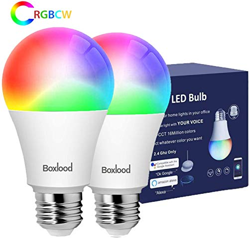 BOXLOOD Lampadina Smart E27 Lampadine Alexa WiFi 7W A60, 60W Equivalente,Lampada Intelligente LED Dimmerabile Controllo Vocale Compatibile con Google Home, RGB 2700K-6500K, 2 Pezzi