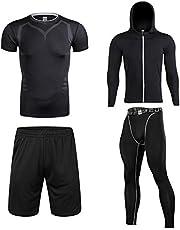 Muxuryeeトレーニングウェア 3/4点セット コンプレッションウェア スポーツウェア メンズ フィットネス ロングタイツ 長袖 ランニングウェア