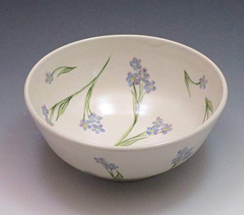 Porcelain Cereal or Soup Bowl, Handpainted in Forget Me Not Design