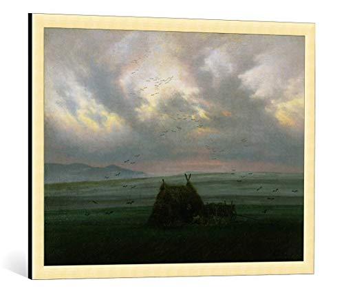 Kunst für Alle Cuadro con Marco: Caspar David Friedrich Waft of Mist c 1818-20' - Impresión artística Decorativa con Marco, 85x65 cm, Dorado Cepillado