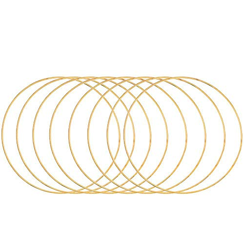Bolange 10 Pack Metal Rings, Metal Floral Hoop Rings Gold Wreath Craft Hoop Macrame Rings for Making Christmas Wedding Wreath Decor and DIY Dream Catcher Wall Hanging Crafts