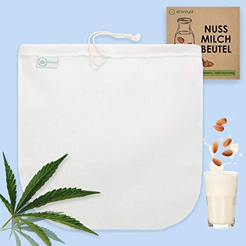 Ecoroyal Nussmilchbeutel Bio waschbar hochwertiger Nussmilch Beutel aus Hanf 30 cm Nut Milk Bag Passiertuch Mandelmilch Tuch Filtertuch Saft