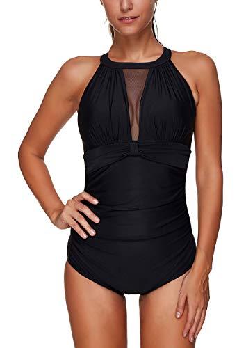 ChayChax Costume da Bagno Intero Donna Push-up Costume Mare Piscina Un Pezzi Bikini Swimsuit One Piece, Nero -3, Taglia M