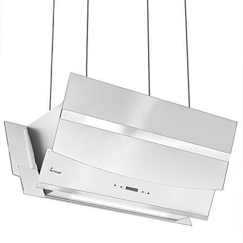 KKT KOLBE Kopffreie Dunstabzugshaube/Inselhaube / 90cm / Edelstahl/weißes Glas/Smart App / 4 Stufen/RGB LED-Beleuchtung/Display/TouchSelect Sensortasten/HERMES-INSEL-907WM