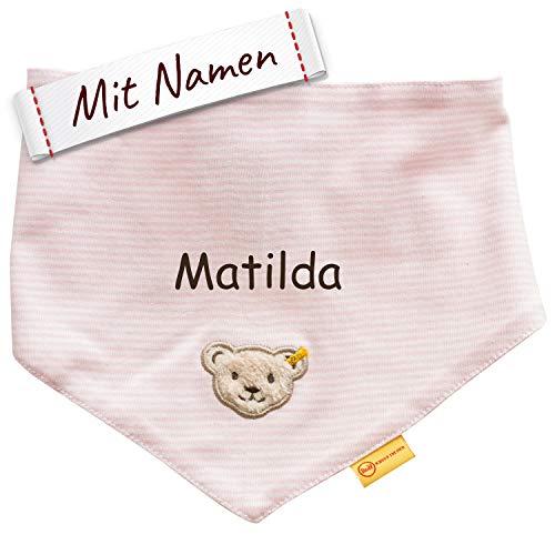 LALALO Steiff Baby Jersey Halstuch bestickt mit Namen, Dreieckstuch/Nickytuch personalisiert, Nickituch Teddy Bär für Mädchen, Streifen & Bindbare Enden (Rosa/Pink)