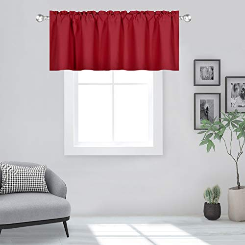 DECOVSUN Red Valance for Windows 60x18 Inch Solid Thermal Insulated Blackout Rod Pocket Kitchen Short Curtain Toppers Valance for Bathroom Living Room 1 Panel