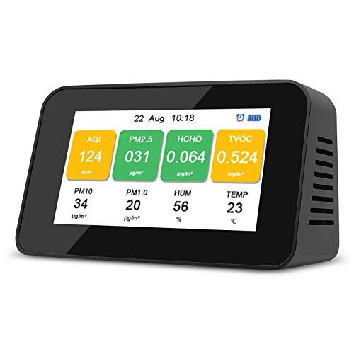Detector de Calidad del Aire Interior Monitor de Formaldehído Profesional-Portátil Multifuncional para HCHO/PM2.5/PM1.0/PM10/TVOC/AQI/Temperatura/Humedad con Batería Recargable