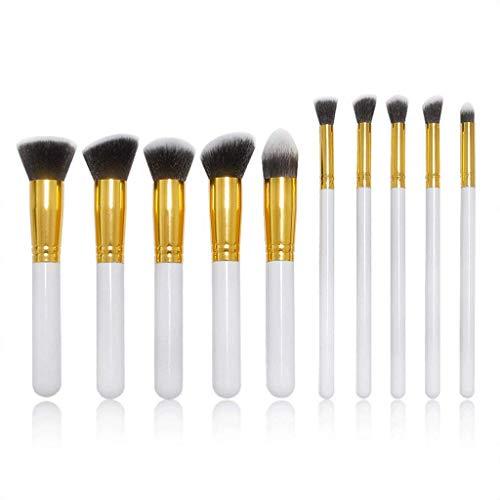JFFFFWI Ensemble de pinceaux de Maquillage pour pinceaux à paupières, 10 pièces Manche en Plastique Kabuki Foundation Brush Outil de Maquillage pour pinceaux à paupières Gold Universal Fibre synthét