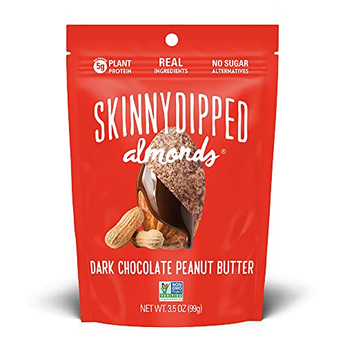 SKINNYDIPPED Dark Chocolate Peanut Butter Covered Almonds, 3.5 Ounce Resealable Bag -Pack of 10