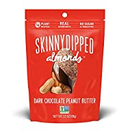 SKINNYDIPPED Dark Chocolate Covered Almonds, Resealable Bag, 1 Count, Peanut Butter, 3.5 oz (Pack of 1)