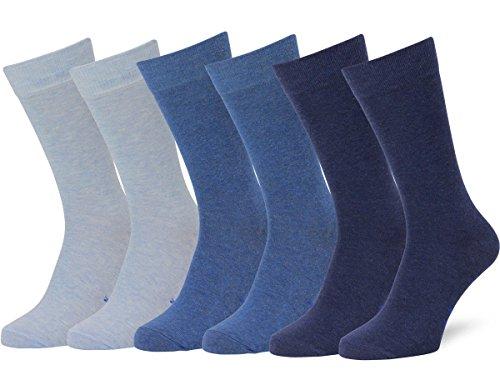 Easton Marlowe Classic Business Herren Socken - 6pk  3-4 - Hellblau/Denim/Indigo melange, einfarbig - 43-46 EU Schuhgröße